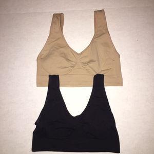 Shapewear Ahh Bras Bundle of Two Blk/Nude Medium